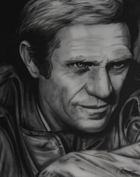 Steve McQueen II by Paul Karslake - Orig Monochrome Airbrush W/Diamond Dust on Canvas sized 30x40 inches. Available from Whitewall Galleries