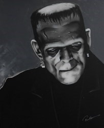 Boris Karloff by Paul Karslake - Orig Monochrome Airbrush W/Diamond Dust on Canvas sized 32x40 inches. Available from Whitewall Galleries