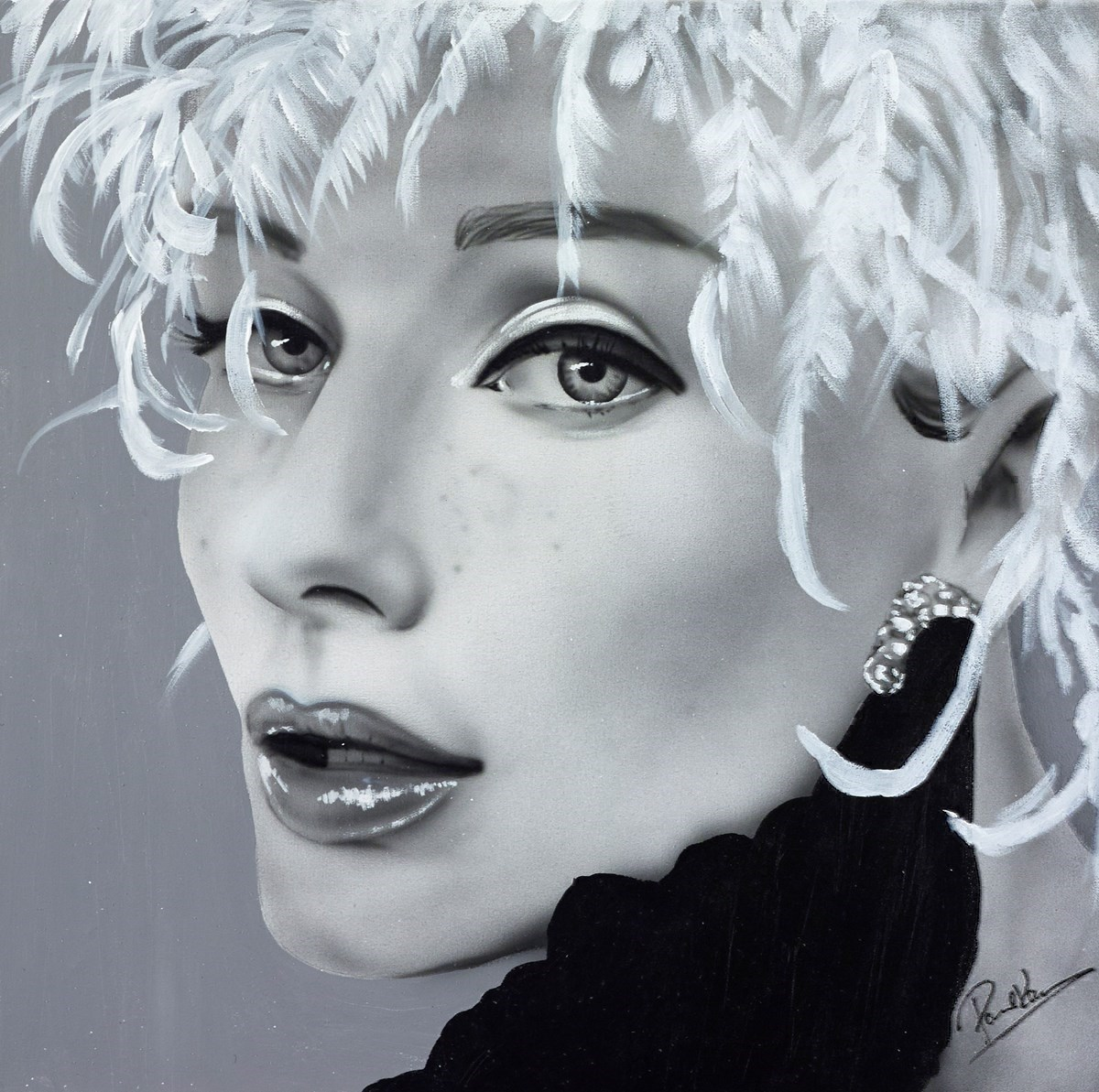 Sophia Loren by Paul Karslake - Orig Monochrome Airbrush W/Diamond Dust on Canvas sized 25x25 inches. Available from Whitewall Galleries