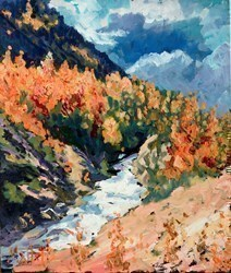 Aspen Autumn by Timmy Mallett - Oil on Board sized 10x12 inches. Available from Whitewall Galleries