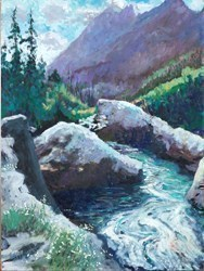 Mountain Stream by Timmy Mallett -  sized 18x24 inches. Available from Whitewall Galleries