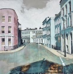 Stillness Street by Camilla Dowse -  sized 24x24 inches. Available from Whitewall Galleries