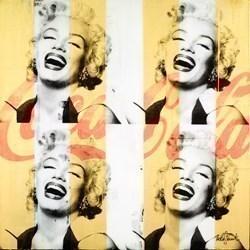 Marilyn's Laugh (Orange and Gold) by Keith Stewart -  sized 30x30 inches. Available from Whitewall Galleries