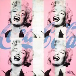 Marilyn's Laugh (Blue and Pink) by Keith Stewart -  sized 30x30 inches. Available from Whitewall Galleries