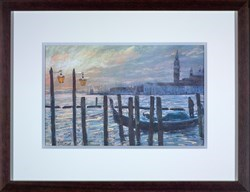 Towards San Giorgio, January, first light by James Bartholomew -  sized 20x12 inches. Available from Whitewall Galleries