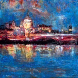 Saint Paul's Illuminated City by Annie Blanchet Rouze -  sized 36x36 inches. Available from Whitewall Galleries