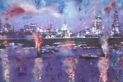 The Blue Hour on the City II by Annie Blanchet Rouze -  sized 36x24 inches. Available from Whitewall Galleries