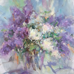Lilac Blossoms by Anna Razumovskaya -  sized 36x36 inches. Available from Whitewall Galleries