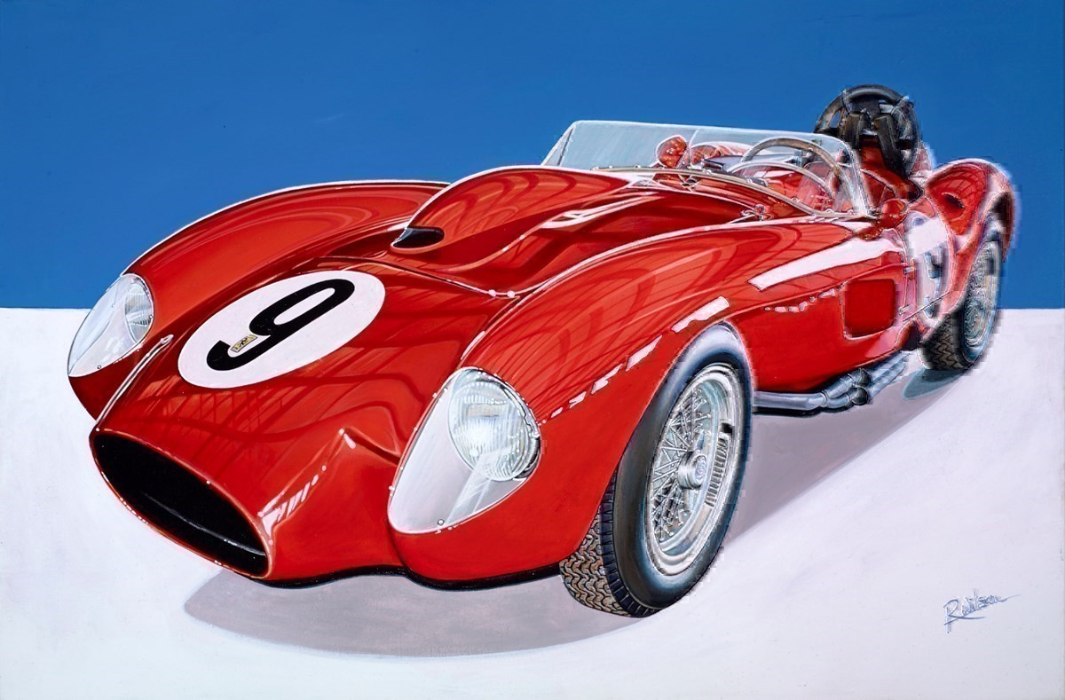 1957 Ferrari 250 Testarossa by Roz Wilson -  sized 36x24 inches. Available from Whitewall Galleries