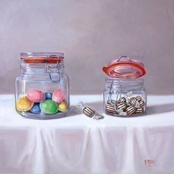 Tarro de Dulces II by Raquel Carbonell -  sized 14x14 inches. Available from Whitewall Galleries