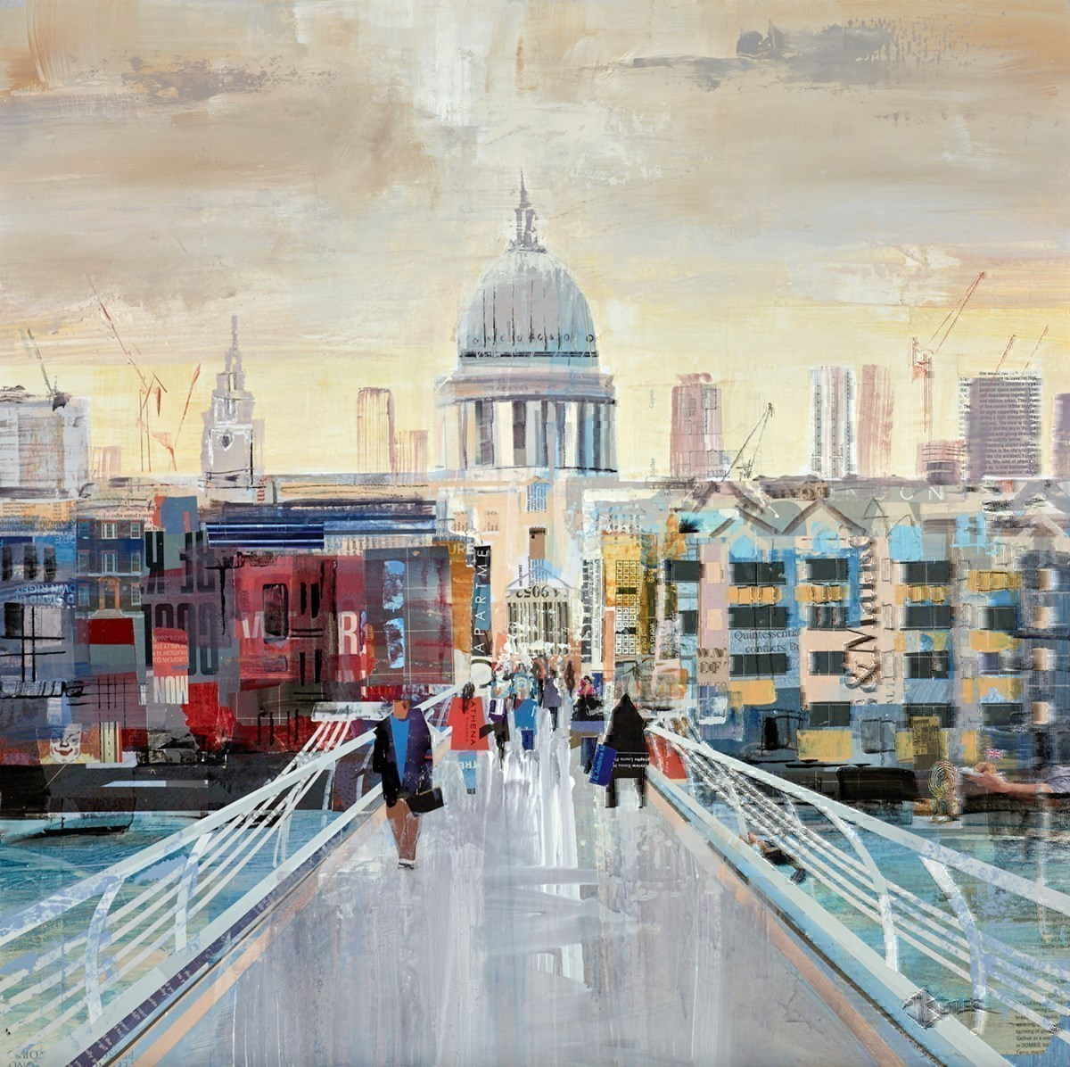 Bridge Stroll by Tom Butler -  sized 24x24 inches. Available from Whitewall Galleries