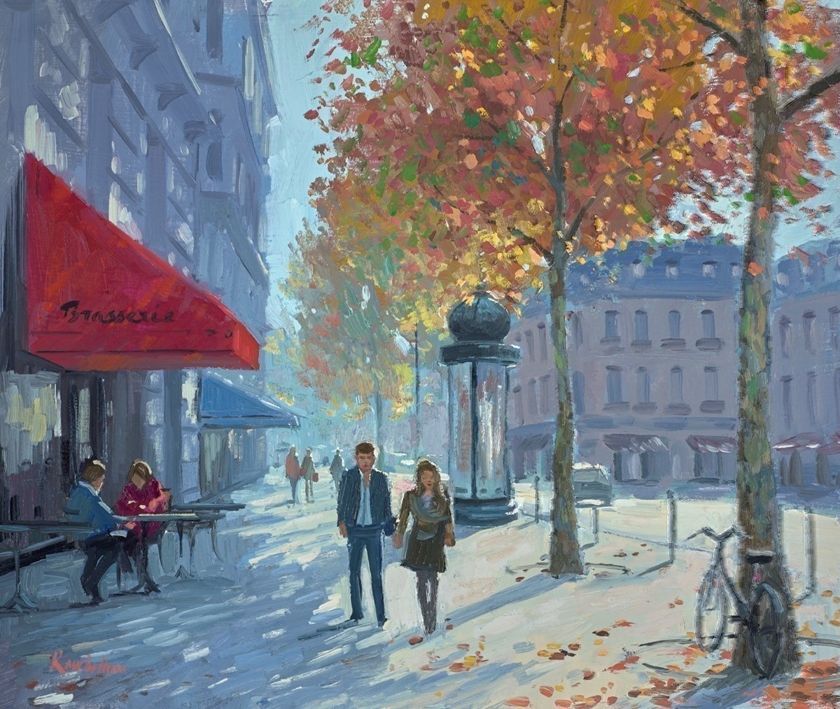 Cafe Saint Germain by Charles Rowbotham -  sized 15x12 inches. Available from Whitewall Galleries