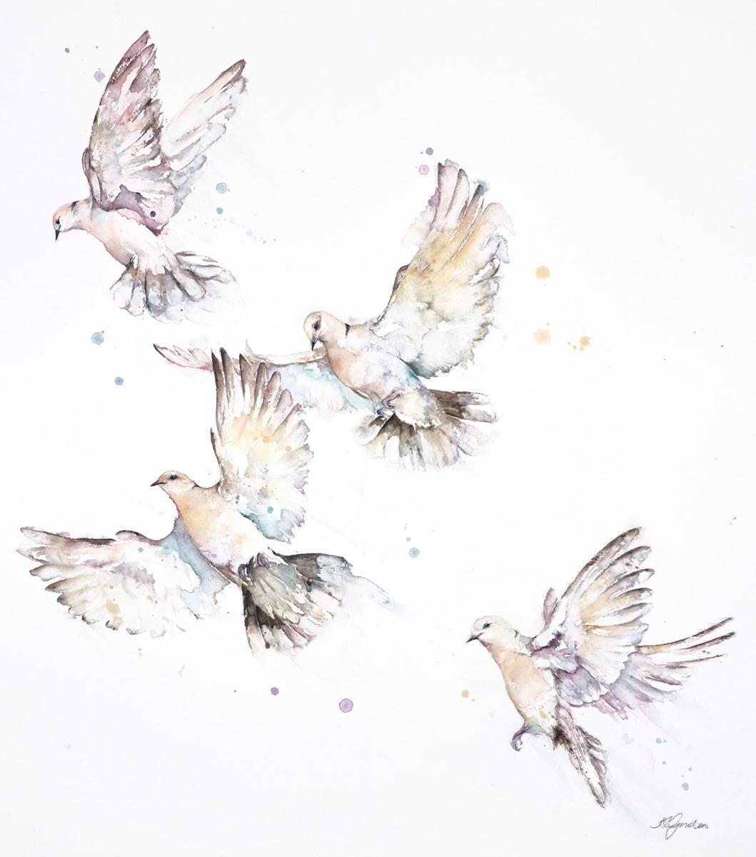Taking Flight - Ringed Doves