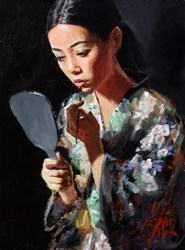 Geisha with Mirror II (Kimono) by Fabian Perez -  sized 12x16 inches. Available from Whitewall Galleries
