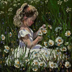 Picking Daisies by Sherree Valentine Daines -  sized 10x10 inches. Available from Whitewall Galleries