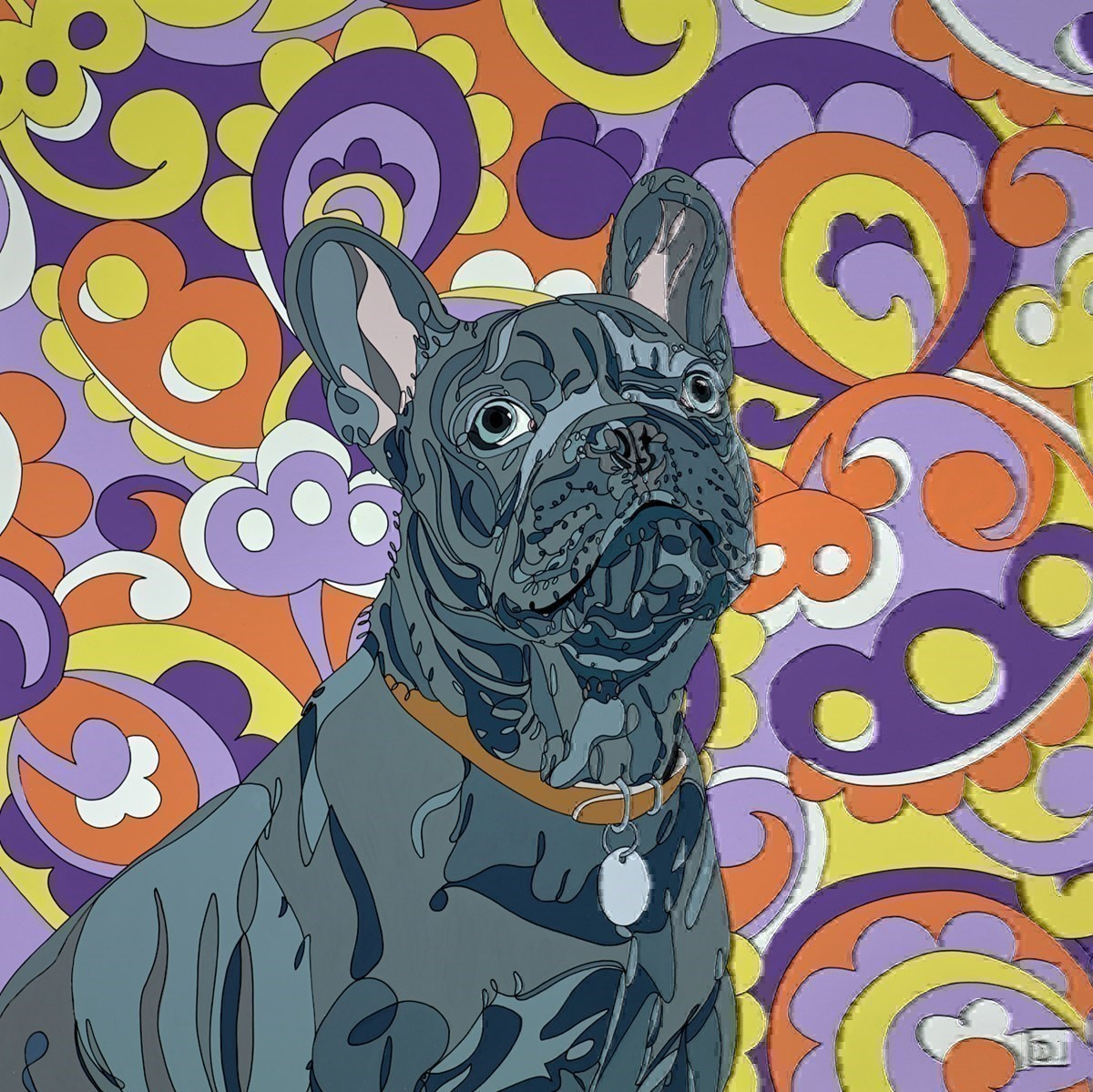 French Bulldog on Paisley Background