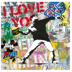 Banksy Thrower by Mr Brainwash - Original on Paper sized 22x22 inches. Available from Whitewall Galleries