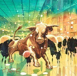 Big Bull - Birmingham by Peter J Rodgers -  sized 16x16 inches. Available from Whitewall Galleries