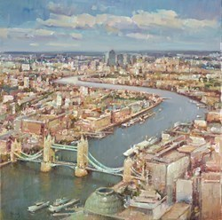 The Thames, London IV by Helios - Varnished Original Painting on Stretched Canvas sized 24x24 inches. Available from Whitewall Galleries