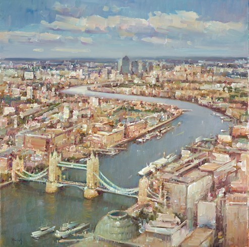 The Thames, London IV by Helios - Varnished Original Painting on Stretched Canvas