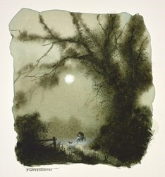 Night Rider by John Waterhouse -  sized 5x5 inches. Available from Whitewall Galleries
