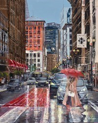 Under My Red Umbrella by Ziv Cooper -  sized 20x25 inches. Available from Whitewall Galleries
