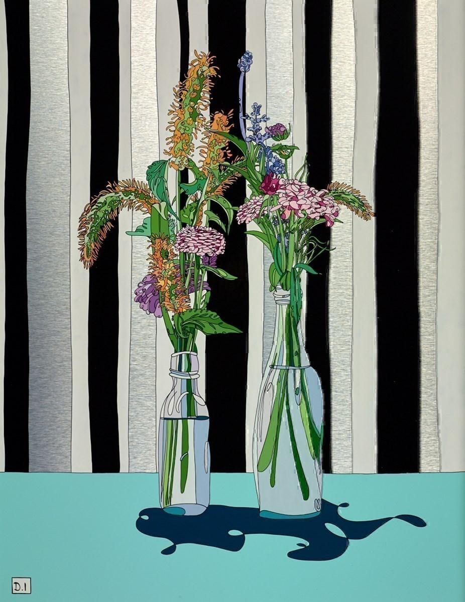 Flowers on Striped Wallpaper
