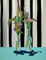 Flowers on Striped Wallpaper by Dylan Izaak -  sized 28x36 inches. Available from Whitewall Galleries