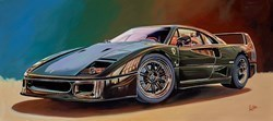 1988 Ferrari F40 by Roz Wilson -  sized 40x18 inches. Available from Whitewall Galleries