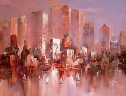 Sunset on the Harbour VI by Wilfred -  sized 46x34 inches. Available from Whitewall Galleries