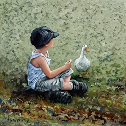 Two for Lunch by Keith Proctor -  sized 28x28 inches. Available from Whitewall Galleries
