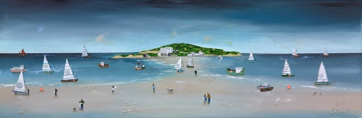 Blue Shore by Lucy Young -  sized 47x16 inches. Available from Whitewall Galleries