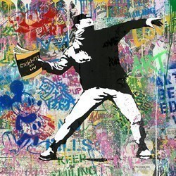 Banksy Thrower by Mr Brainwash -  sized 36x36 inches. Available from Whitewall Galleries