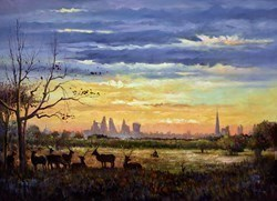 Sunset from Richmond Park by Henderson Cisz - Oil sized 48x35 inches. Available from Whitewall Galleries