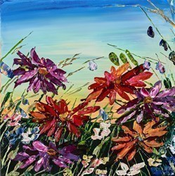 In Bloom by Maya Eventov - Original Painting on Stretched Canvas sized 12x12 inches. Available from Whitewall Galleries