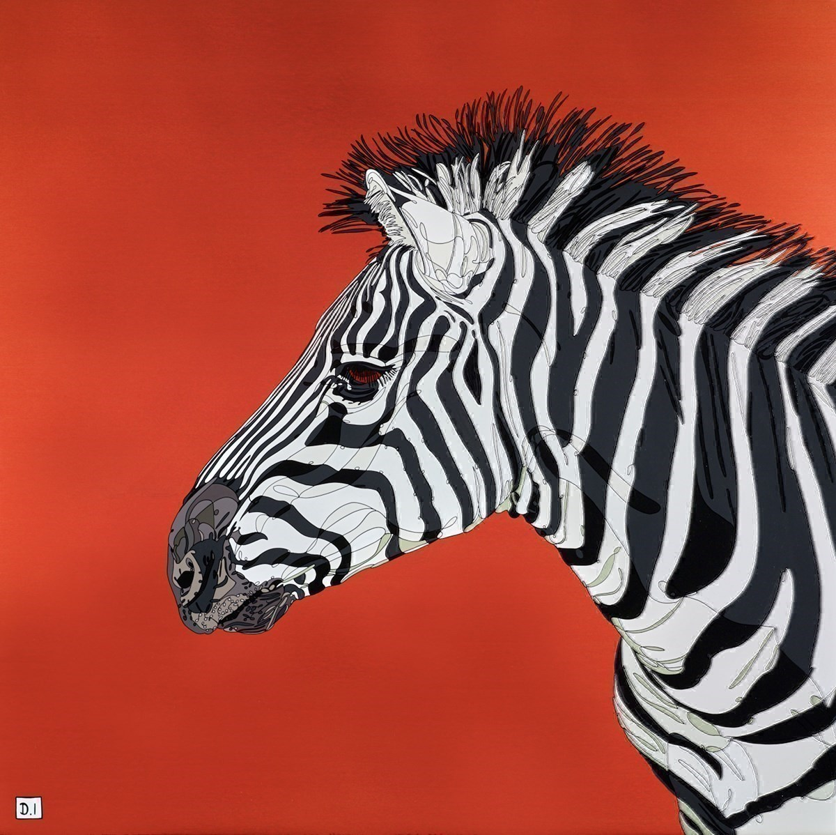 Zebra on Metallic Orange by Dylan Izaak -  sized 36x36 inches. Available from Whitewall Galleries