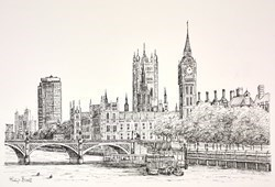 Westminster from the Thames (Sketch) by Phillip Bissell -  sized 17x11 inches. Available from Whitewall Galleries