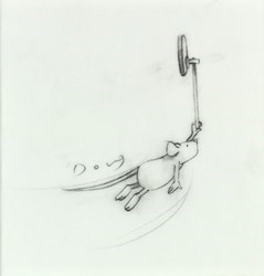 Hitch-Hikers (Study X) by Doug Hyde - Original sized 4x4 inches. Available from Whitewall Galleries