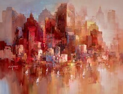Sunset on the Harbour V by Wilfred -  sized 46x34 inches. Available from Whitewall Galleries