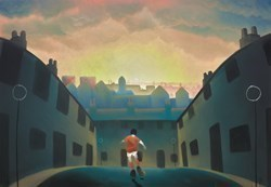 Down Our Street by Mackenzie Thorpe -  sized 40x28 inches. Available from Whitewall Galleries