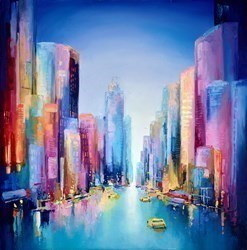 New York Streets by Anna Gammans -  sized 39x39 inches. Available from Whitewall Galleries