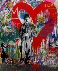 Chaplin by Mr Brainwash -  sized 46x56 inches. Available from Whitewall Galleries