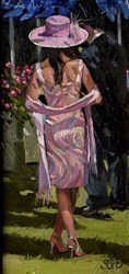 Lady in Pink, Ascot (RR) by Sherree Valentine Daines -  sized 7x14 inches. Available from Whitewall Galleries
