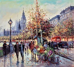 Flowers by the Riverside by Henderson Cisz -  sized 20x18 inches. Available from Whitewall Galleries