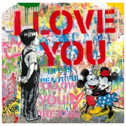 With All My Love by Mr Brainwash - Original on Paper sized 36x36 inches. Available from Whitewall Galleries
