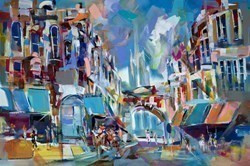 Corner Shop by Marijus Jusionis -  sized 47x32 inches. Available from Whitewall Galleries
