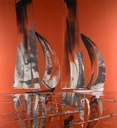 Copper Sails  by Duncan MacGregor -  sized 44x48 inches. Available from Whitewall Galleries