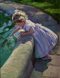 Feeding the Fish by Sherree Valentine Daines -  sized 14x18 inches. Available from Whitewall Galleries