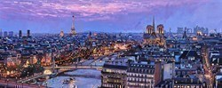 Paris Blue Hour II by Stephen Collett -  sized 39x16 inches. Available from Whitewall Galleries