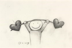 Love Lifting by Doug Hyde - Original Drawing on Mounted Paper sized 6x4 inches. Available from Whitewall Galleries